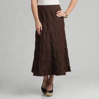 Live A Little Womens Brown Tiered Maxi Skirt