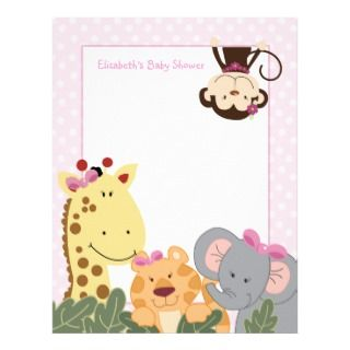 Girl Jungle Baby Shower Letterhead
