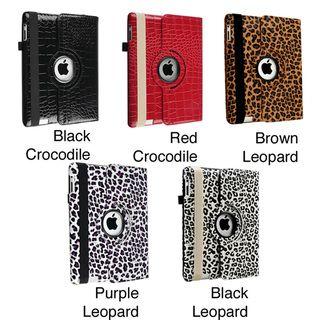 Crocodile Skin Leather Swivel Case for Apple iPad 2/ 3