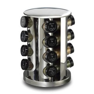 Kamenstein 16 Jar Filled Stainless Steel Spice Rack Tower   Spice