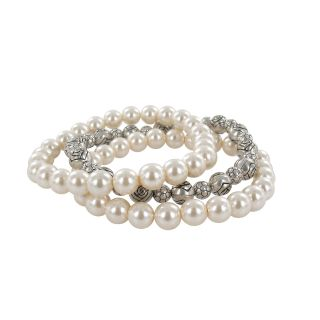 Roman Faux Pearl Strand and Bali Bead Stretch Bracelet Set