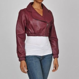 Knoles & Carter Womens Plus Size Leather Bolero Bomber Jacket