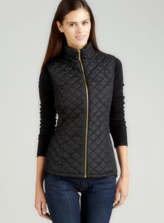 For Cynthia Diamond Quilted Zip Front Vest