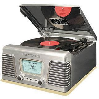 Crosley CR711 BC Autorama Chrome Turntable with AM/FM Radio
