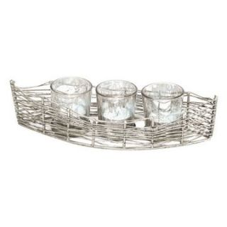 Rojo 16 Costa Brava Iron Boat with 3 Mercury Glass Votives   Votive