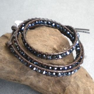 Black Crystal Tribal Leather Wrap Bracelet (Thailand)