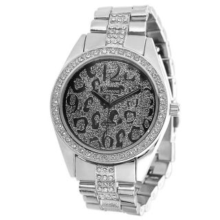 Geneva Platinum Womens Rhinestone Cheetah Link Watch