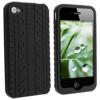 Black Tire Tread Textured Silicone Case for Apple iPhone 4
