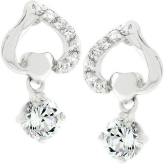 Kate Bissett Silvertone CZ Upside down Heart Earrings