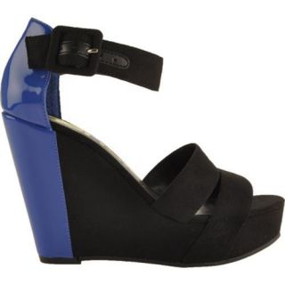 Womens Kensie Girl Galia Black/Electric Blue Suede/Patent PU
