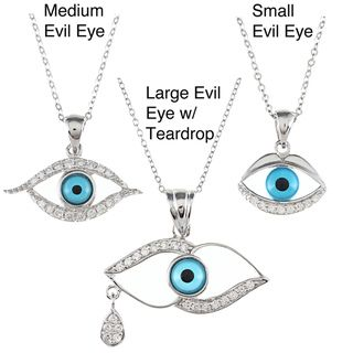 La Preciosa Sterling Silver with CZ and Aqua Evil Eye Pendant
