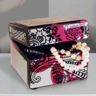 Mirrored Black and Pink Floral Flip Top Jewelry Box   4.25W x 3.5H in