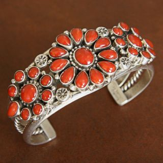 Sterling Silver Mediterranean Red Coral Inlay Cuff Bracelet (Native