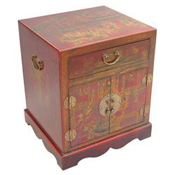 Hand painted Leather Chinoiserie End Table