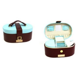 Blue & Brown Leather Oval Travel Jewelry Box   9.75W x 4.5H in
