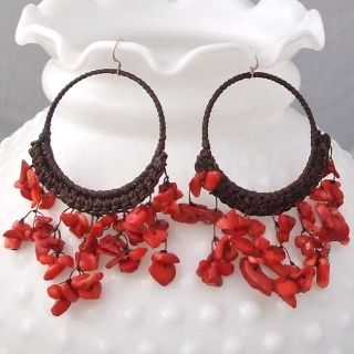 Cotton Chandelier Red Coral Hoop Dangle Earrings (Thailand