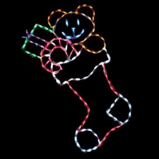 44 in. Outdoor LED Large Stocking with Toys Display   150 Bulbs