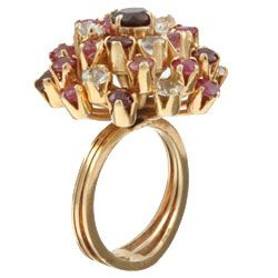 18k Gold Ruby/ Pink Sapphire Estate Cocktail Ring (Size 5.5