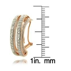 Finesque Rose Gold Overlay Diamond Accent Multi band Semi hoop