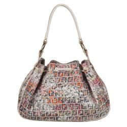 Fendi Mini Floral Zucchino Canvas Drawstring Hobo Bag