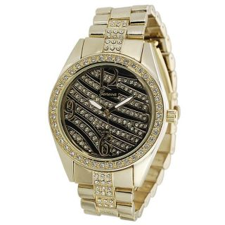 Geneva Platinum Womens Rhinestone Striped Face Link Watch