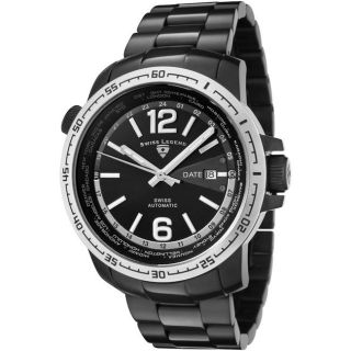Swiss Legend Mens World Timer Black Dial Black Ion Plated Watch