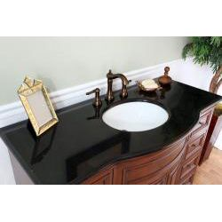 Single Sink Wood Vanity with Black Granite Top