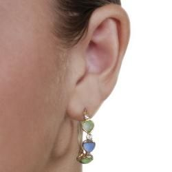Vermeil Green/ Blue Spinel and Cubic Zirconia Heart Hoop Earrings