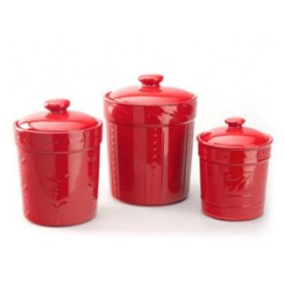 Sorrento 3 Piece Canisters   Ruby   Kitchen Canisters