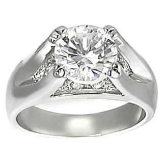 Journee Collection Silvertone Prong set Round cut CZ Ring