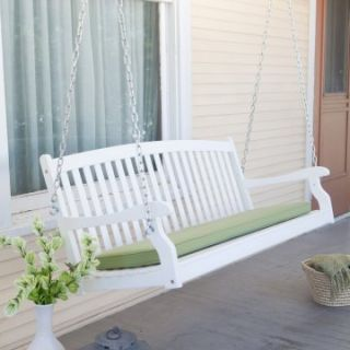 Pleasant Bay Wood Painted Porch Swing   White   Porch Swings at