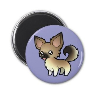 Cartoon Chihuahua (fawn sable long coat) magnets by SugarVsSpice