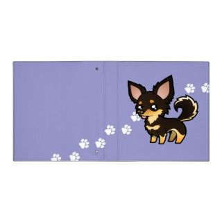 Cartoon Chihuahua (black and tan long coat) binders by SugarVsSpice
