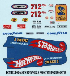 24 Scale Don The Snake Prudhommes Front Engine Dragster Decal