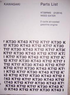 Kawasaki KT28RMS Weed Eater Gas Engine Parts List C
