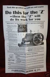Fairbanks Morse Z Engine Wall Chart Hit Miss
