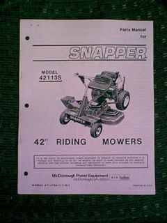 Snapper Rear Engine Riding Mower 42 42113s Part Manual