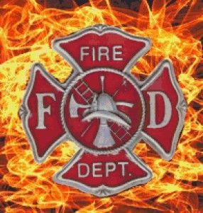 Firefighter Pin Flames Fireman Fire Fighter Counted Cross Stitch Chart
