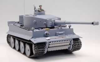 16 German Tiger RC Tank Shoots Airsoft Smoke Gray