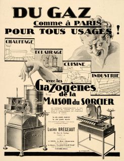 1930 Ad French Gas Gaz Motor Engine Furnace Home Heat   ORIGINAL