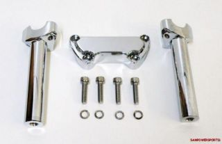 CHROME HANDLEBAR RISER KIT FOR HARLEY MODELS 74 UP